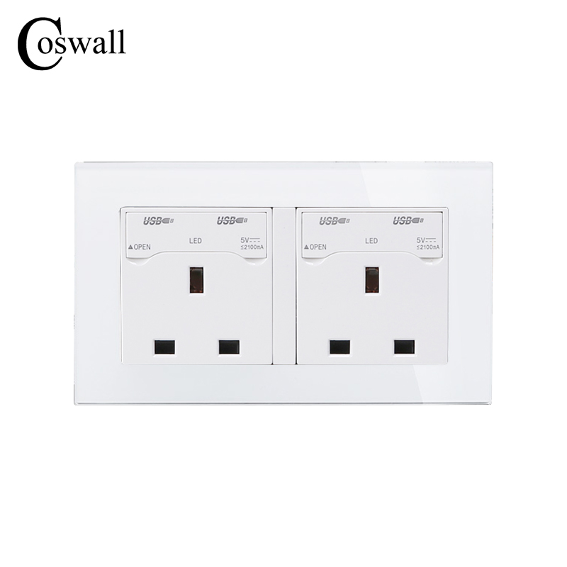 COSWALL 146 UK Standard Double Wall Socket with 4 USB Charge Port For Mobile Output 5V 2100mA Crystal Tempered Glass Panel coswall wall socket uk standard power outlet switched with dual usb charge port for mobile 5v 2 1a output stainless steel panel