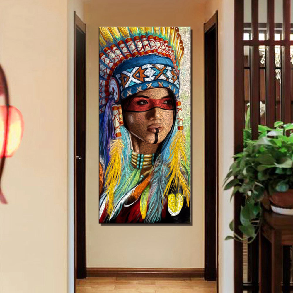 Paint By Number DIY American Indian Woman Number Painting for Dining Room Wall Decor Feather Girl Artwork Home Decor Drop Ship