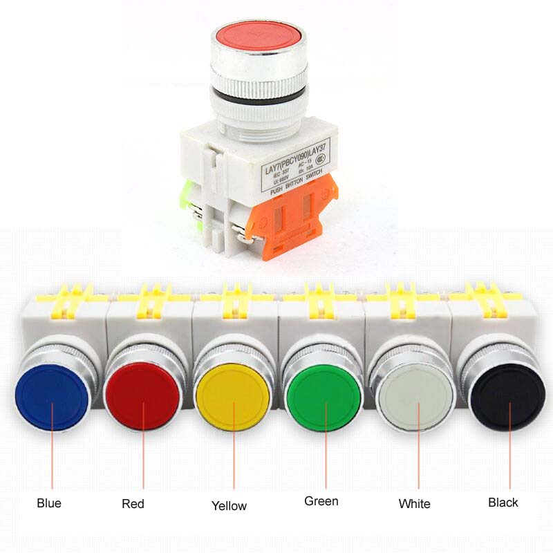 1pc Red Blue Black White Yellow Green Ui 600V 10A 1NO 1NC DPST 4 Pins Self Lock Push Button Switch LAY37 Y090-11BNZS 220V 6pcs 22mm momentary push button switch red green blue yellow black white normal open normal close