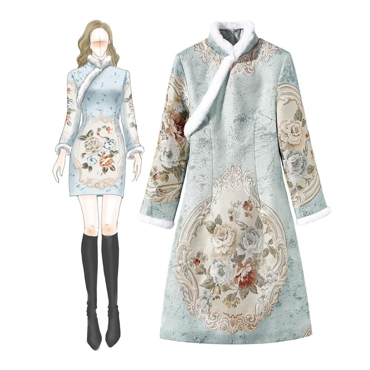 Chiński kobiety tradycyjny stójka Cheongsam zima królik włosy ciepłe sukienka żakardowe uciekają ciepło Slim zaktualizowane Qipao w Suknie od Odzież damska na  Grupa 1