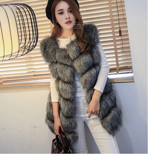 New 2017 Arrival Winter Warm Fashion Women Import Coat Fur Vest High-Grade Faux Fur Coat Fox Fur Long Vest Plus Size: S-XXXXL