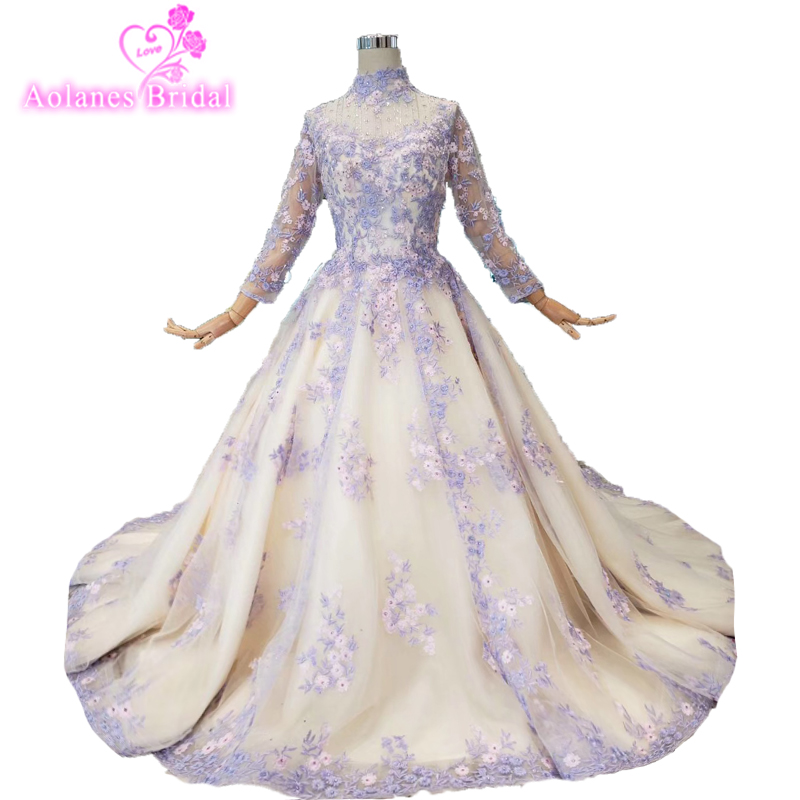 Stunning Purple A Line Lace   Prom     Dress   High Neck Ruched Sweep Train Formal   Dress   Lace Up Evening   Dress   Crystals Robe De Soiree