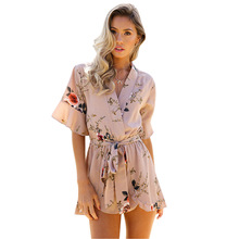 ELSVIOS 2018 Women Print Lace Rompers Casual Jumpsuits Summer Short Pleated Overalls Chest Wrap Strapless Beach Playsuits XS-3XL