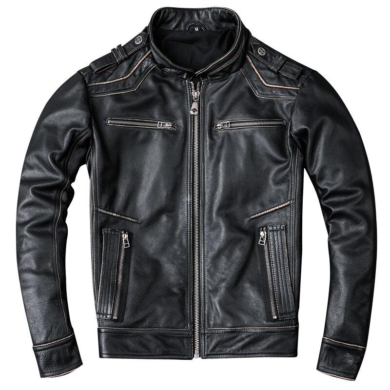HARLEY DAMSON Retro Vintage Black Men Cross Motorcycle Leather Jacket Plus Size XXXXXL Real Cowhide Short Bikers Leather Coat