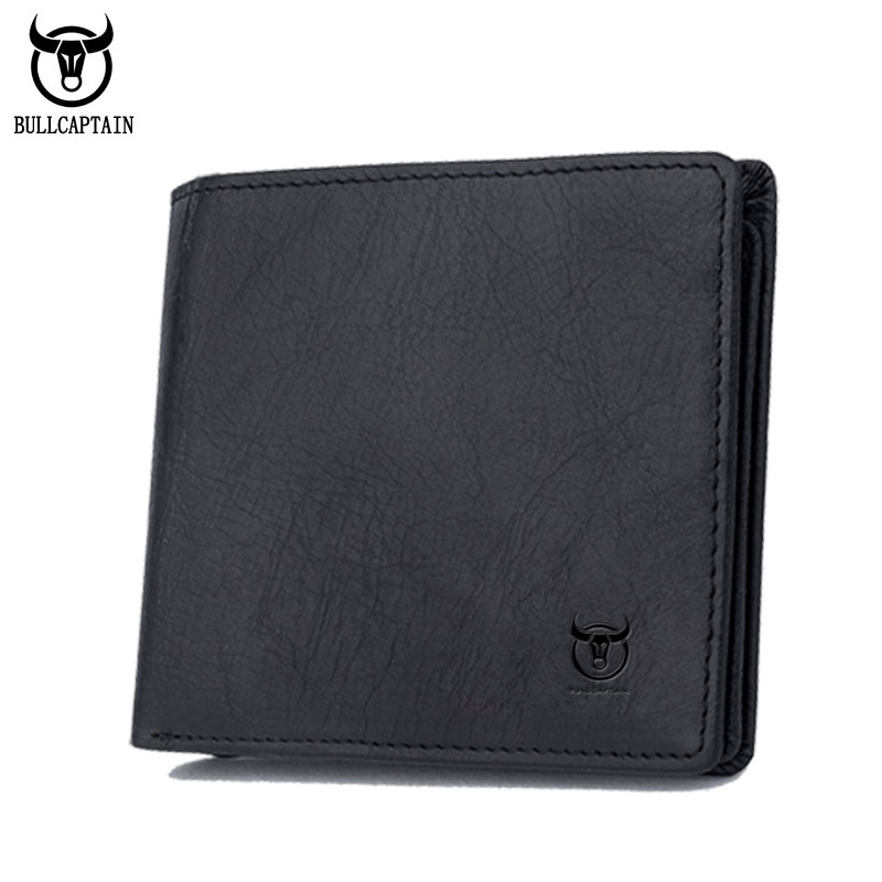 BULLCAPTAIN Genuine Cow Leather Men Wallet Fashion Coin Pocket Brand Trifold Men Purse High Quality Male Card Photo Holder new fashion gubintu removeable pocket men vintage wallets cow genuine leather wallet brand purse card holder coin purse jan 19