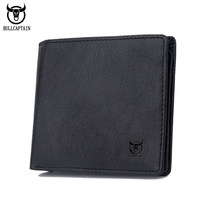 BULLCAPTAIN Genuine Cow Leather Men Wallet Fashion Coin Pocket Brand Trifold Men Purse High Quality Male