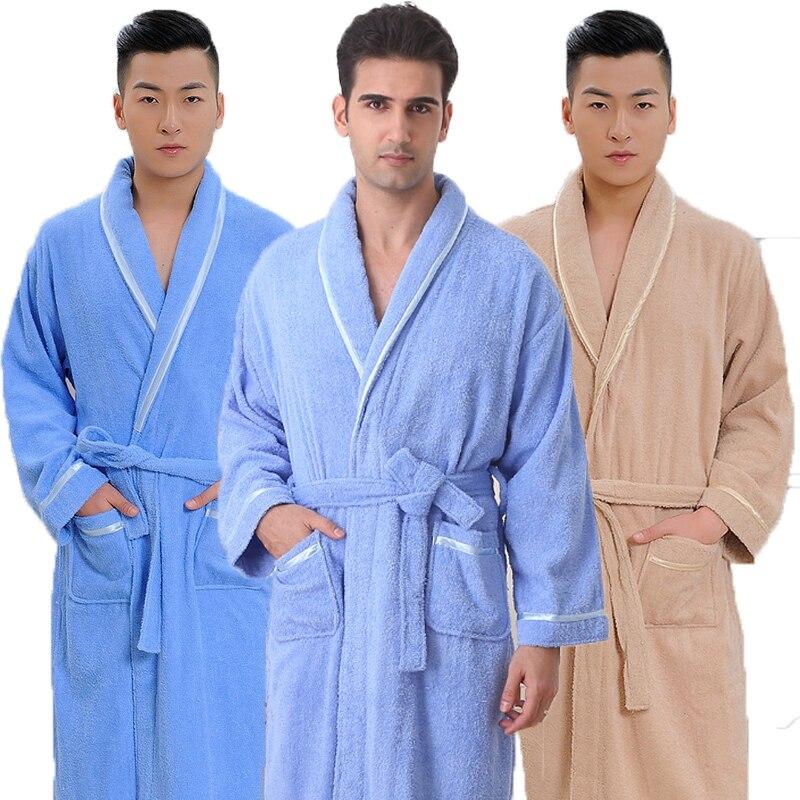 Cotton Men Bathrobe Women Pajamas  XL Towel Fleece Long Soft Warm Night Robe  Spring Antumn Winter Whtie Blue Pink