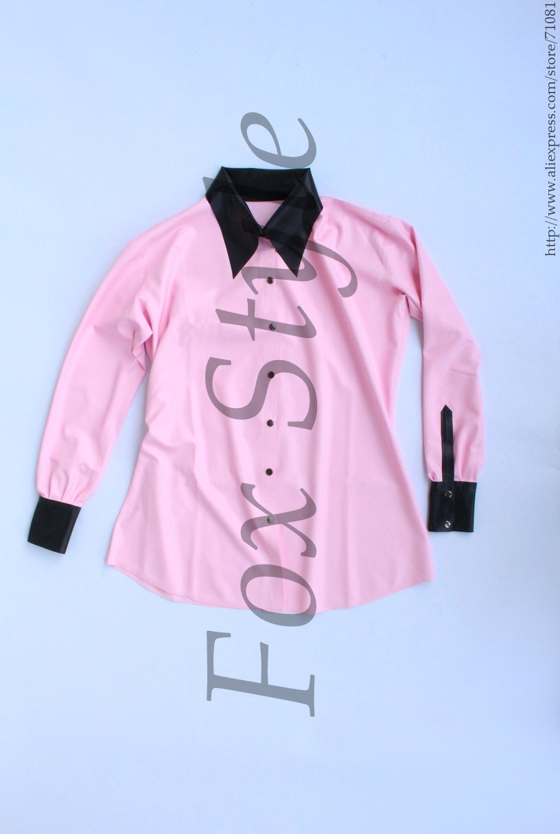 Latex Blouse in pink color and black trim