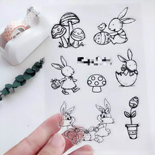 Lovely Rabbit Transparent Clear Silicone Stamp/Seal DIY scrapbooking/photo album Decorative clear stamp
