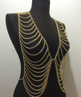 FREE SHIPPING New Style B619 Women Fashion Gold Chains Necklace Sexy Layers Longer Full Clothing Body