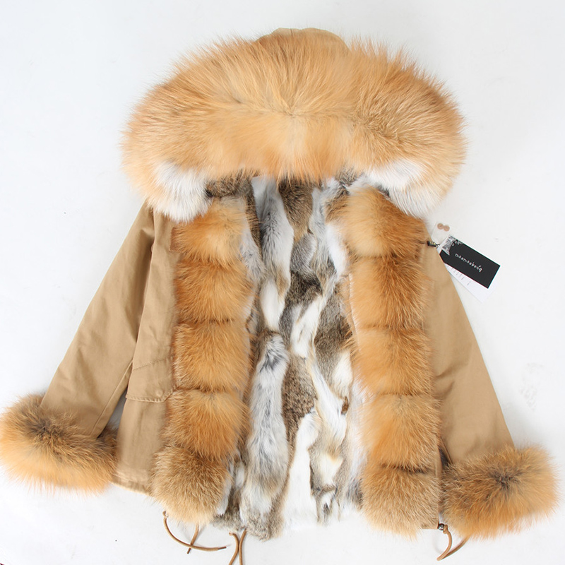 Natural rabbit fur lined with cotton fur coat winter female warm parkReal Fur   -