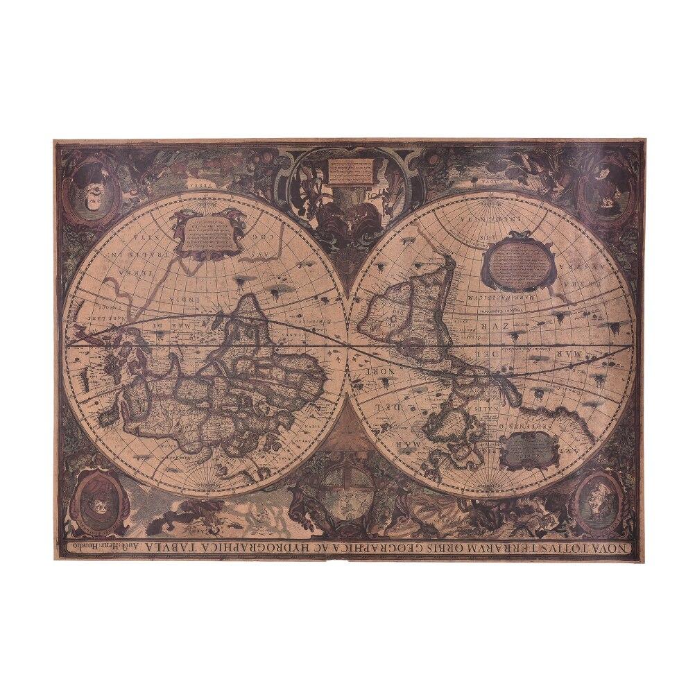 Hot Retro World Map Nautical Ocean Sea Maps Vintage Kraft