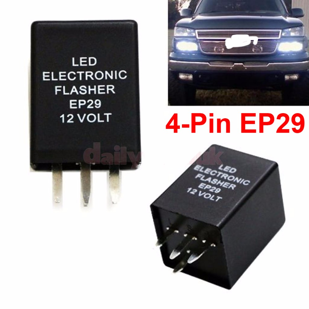 2PCS 4-Pin EP29 LED Flasher Decoder 4 Pins Electronic Relay Car Fix LED SMD Turn Signal Light Error Flashing Blinker 12V 10A ABS