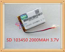 Liter energy battery 3.7V lithium polymer battery small pudding 103450 rechargeable batteries 2000mAh Ma GPS navigator