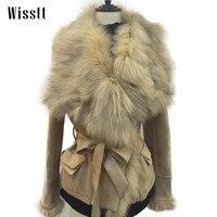 WISSTT Роскошная куртка Женская мода натуральный Лисий мех воротник куртки тонкий искусственная кожа замша молния пояса Куртка Верхняя одежд