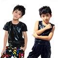 Spring summer Kids Faux Leather Top for Children Boys Girls Unisex Solid Black Hip Hop Dance T-shirt
