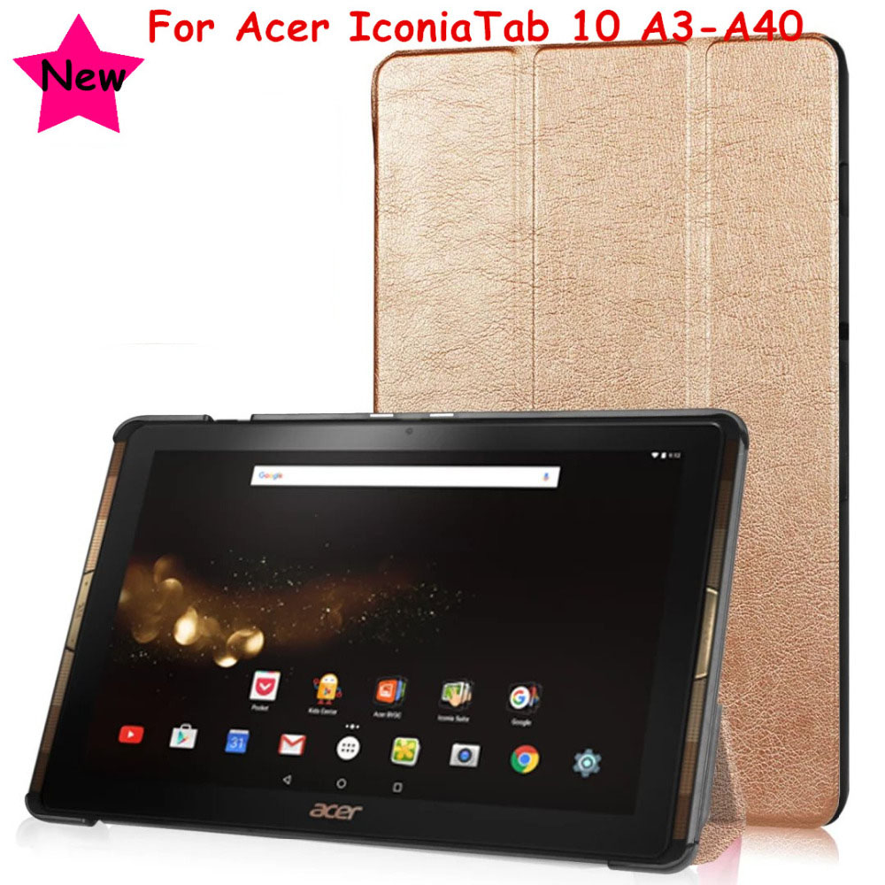 3 Fold Magnet Flip Cover For Acer Iconia Tab 10 A3-A40 B3-A30 10.1 Tablet funda Case Slim Cover For Acer A3-A40 Protective Skin