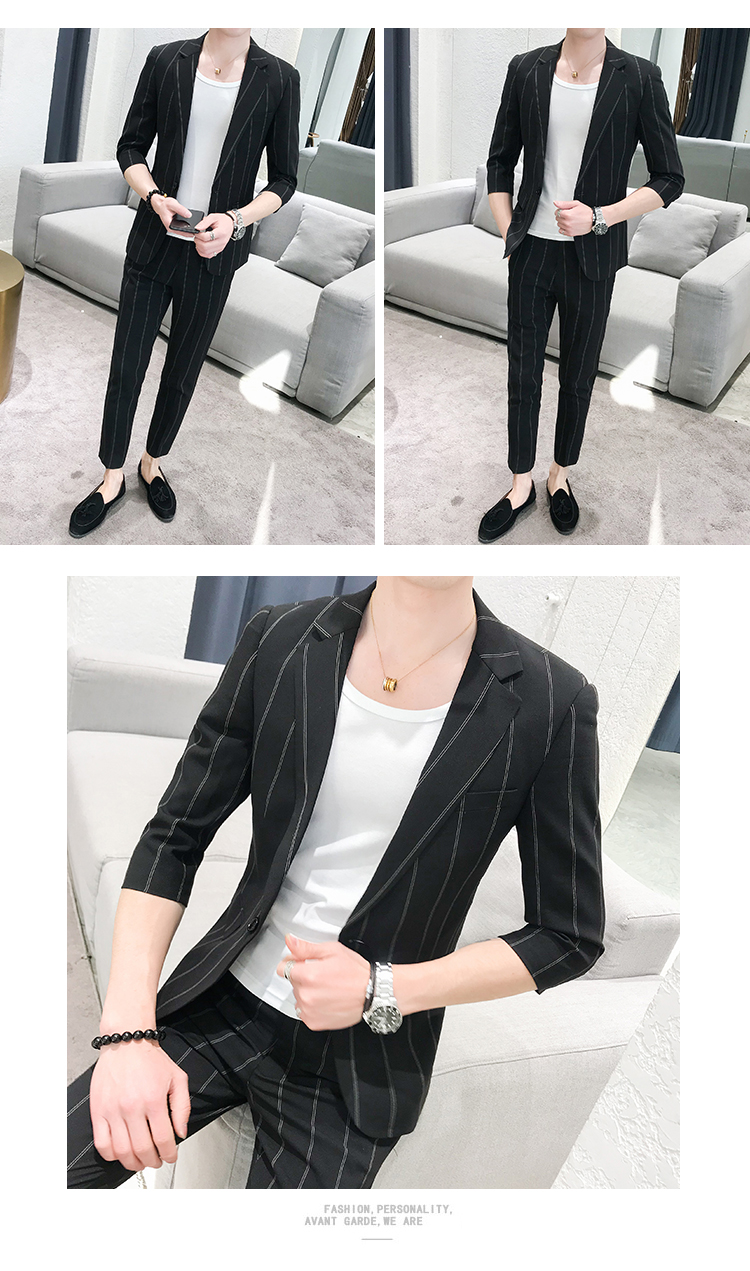 HTB1yFvgRBLoK1RjSZFuq6xn0XXaW custom Small Size Men's Wear Summer 2019 New Men's Middle Sleeve Suit Stripe Two piece Fashion Japanese Slim Suit