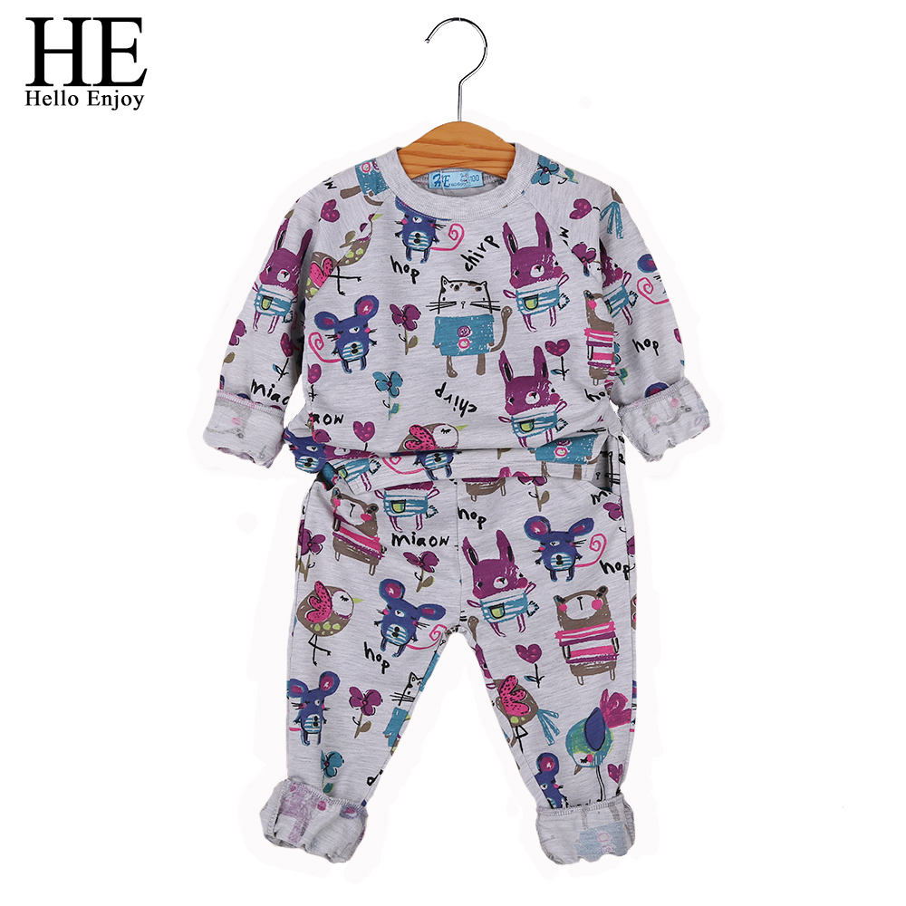 HE Hello Enjoy Children winter suits for girls clothes Casual toddler girl clothing sets kids clothes print long sleeve 2018 he hello enjoy girls clothes dress spring autumn kids dresses for girls long sleeve denim shirt bow suits children clothing set