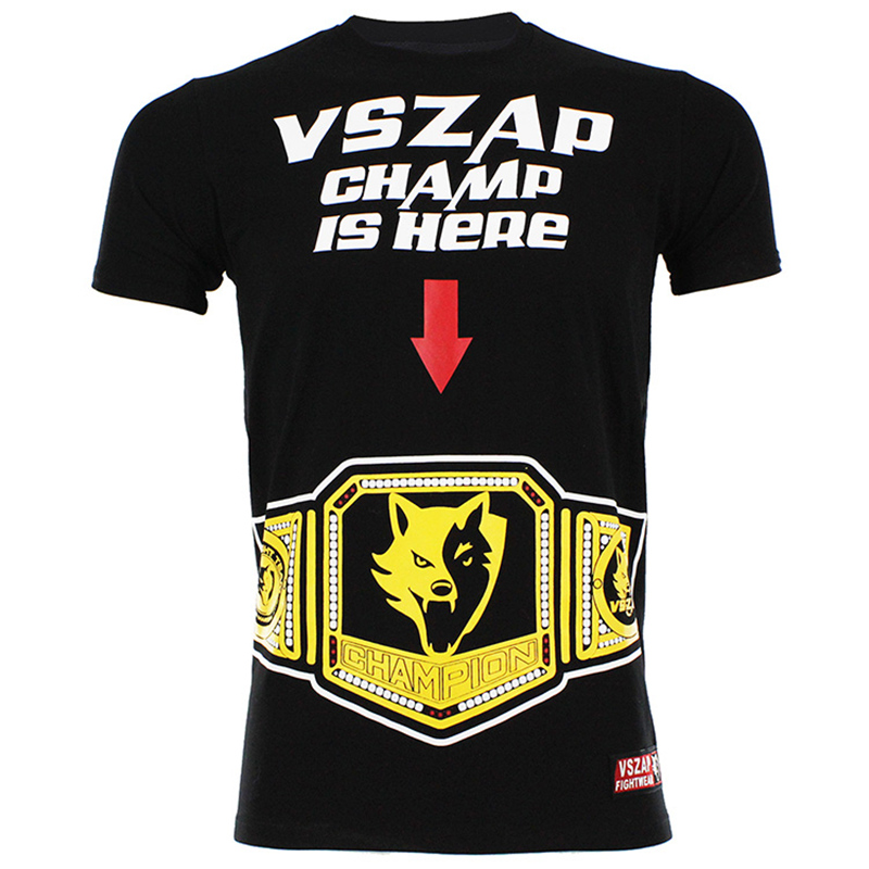 CHAMP IS HERE! MMA T Shirt UFC Muay Thai Boxing Club Workout T Shirts Kickboxing Tee Mens Black