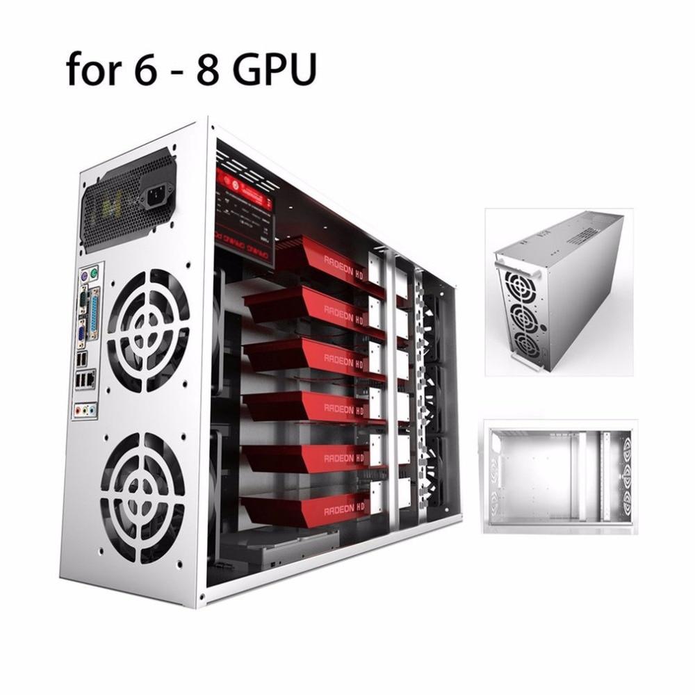 Marco de la Minería a cielo abierto Plataforma Caso ATX GPU Gráficos Fit 6/8 Tarjeta gráfica Etéreos ETH ETC ZEC XMR Magnalium Aleación 12 cm Fans