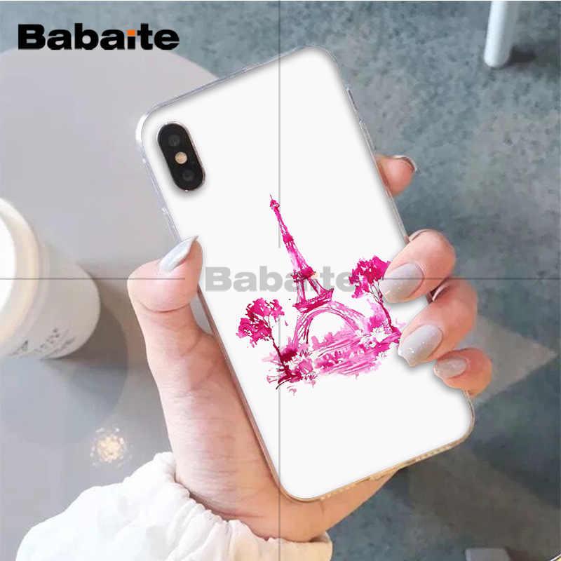 Babaite France Paris 에펠 탑 패션 블랙 소프트 쉘 전화 커버 for iPhone X XS MAX 6 6s 7 7plus 8 8Plus 5 5S SE XR