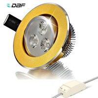 DBF-foco LED empotrable giratorio para cocina, Cuerpo Dorado regulable, 3W, 4W, 5W, 7W, 9W, 12W, AC90-265V
