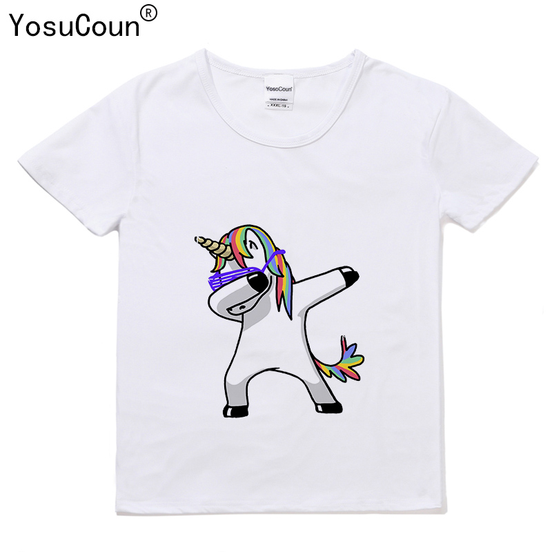 Printing T-shirt Boys Girls Shirts Dabbing Unicorn T shirt Kids Tops Baby Girls Boys Short Sleeve Rabbit/Cat/Panda/Dog T220X