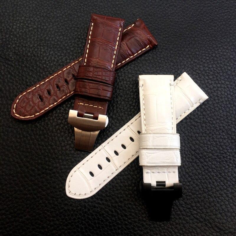 Bracelet de montre en cuir véritable marron peau de Crocodile blanc pour hommes 24mm bracelet de luxe pour Panerai PAM avec boucle papillon