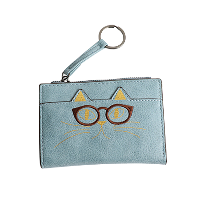 Short Cat Women Wallets Leather Embroidery Wallet Cat Card Holder Female Purse Hasp Clutch Bags Small Slim Wallet Cat Lady Bag casual weaving design card holder handbag hasp wallet for women