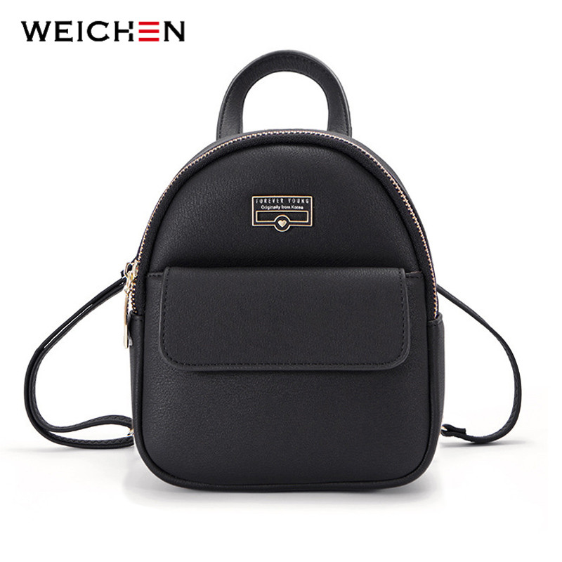 WEICHEN Brand Designer Fashion Mini Backpack Female Leather Women Backpack Multi-Function Ladies Small Shoulder Bag High Quality