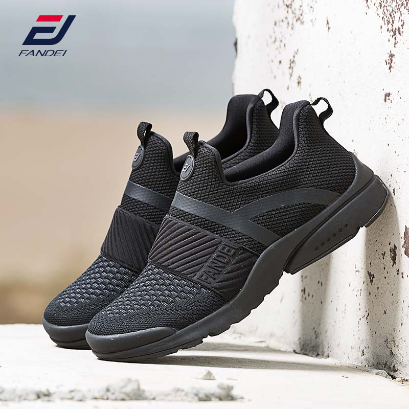 FANDEI 2018 running shoes for men new design sport shoes men sneakers athletic shoes slip on jogging walking shoes zapatillas crocodile original 2018 new men walking shoes male leather working shoes running jogging sneaker for men s flat sport shoes