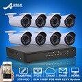Plug And Play 1080 P HD H.264 25fps 36IR CCTV Câmera POE Kit de Alarme E-mail Sistema de Segurança Vigilância POE Onvif 8CH NVR 3 TB HDD