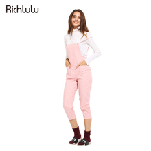 RichLuLu Pink Sweet Women Fashion Overalls Solid Pockets Slim Preppy Style Jumpsuit Casual High Waist Cami Strap Overalls