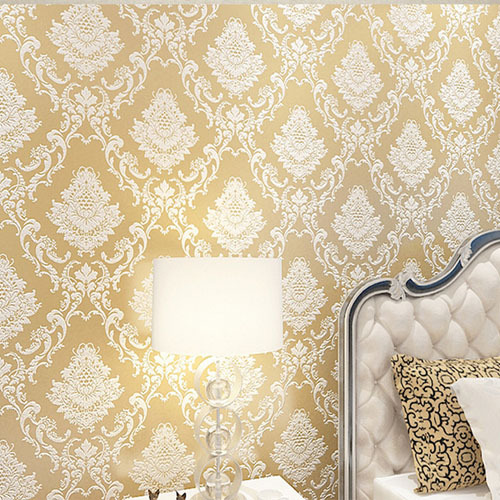 DAMASK Wallpaper Floral 3D Gold Thick Non woven Wall Paper Roll for ...