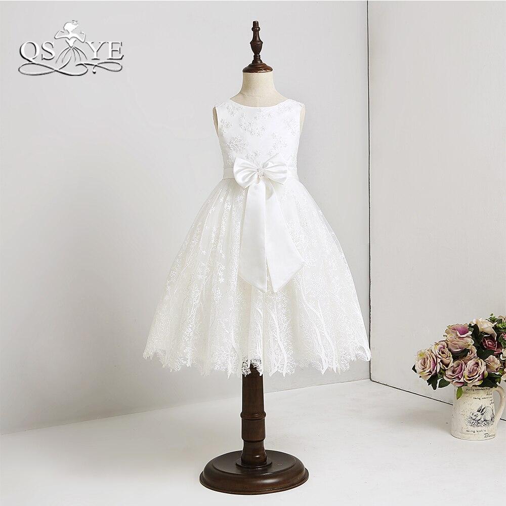 QSYYE 2018 White Lace Flower Girl Dresses Bow Sash Knee Length Girls First Holy Communion Dress Prom Gown Custom Made