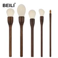 BEILI Natural Walnut wood A Class Goat Hair Weasel hair Professional Face Powder Long handle Makeup Brushes 5pcs
