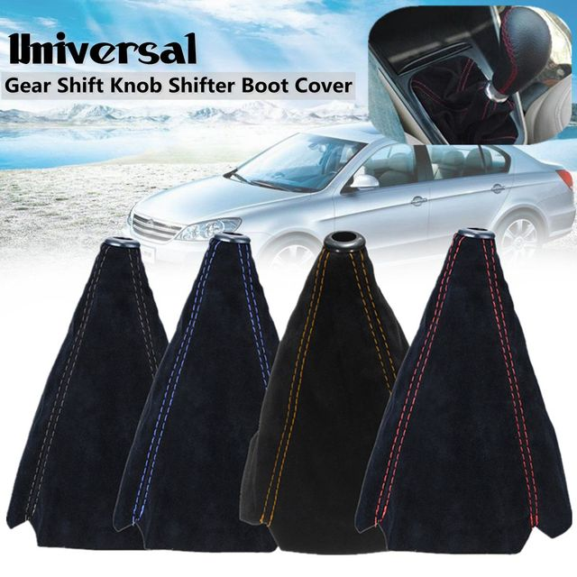 Universal Car Gear Shift Collars Covers Suede PU Leather Gear Stick Shift Shifter Knob Cover Boot Gaiter