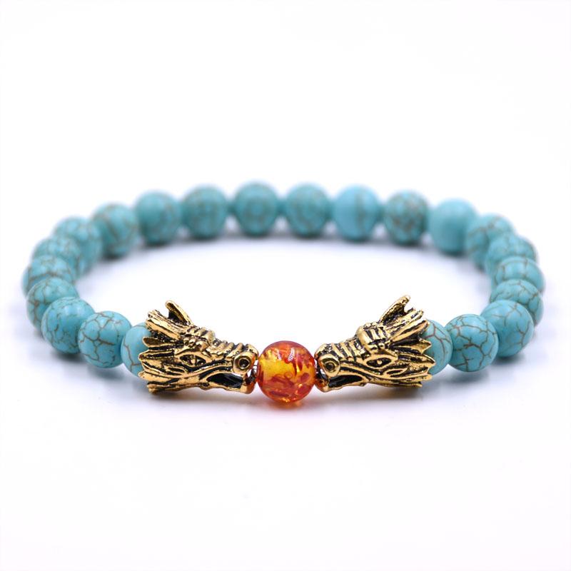 HYHONEY 8MM Natural Stone Beads Bracelet For Men bileklik Men Jewelry Dragon pulseras 4