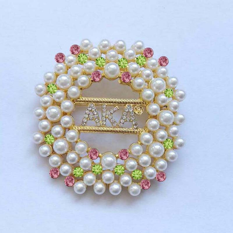 Drop shipping 2019 Newest pink and green Big Round AlphaKappa Alpha Aka  hotsell coloful Pearl Brooch Lapel Pin
