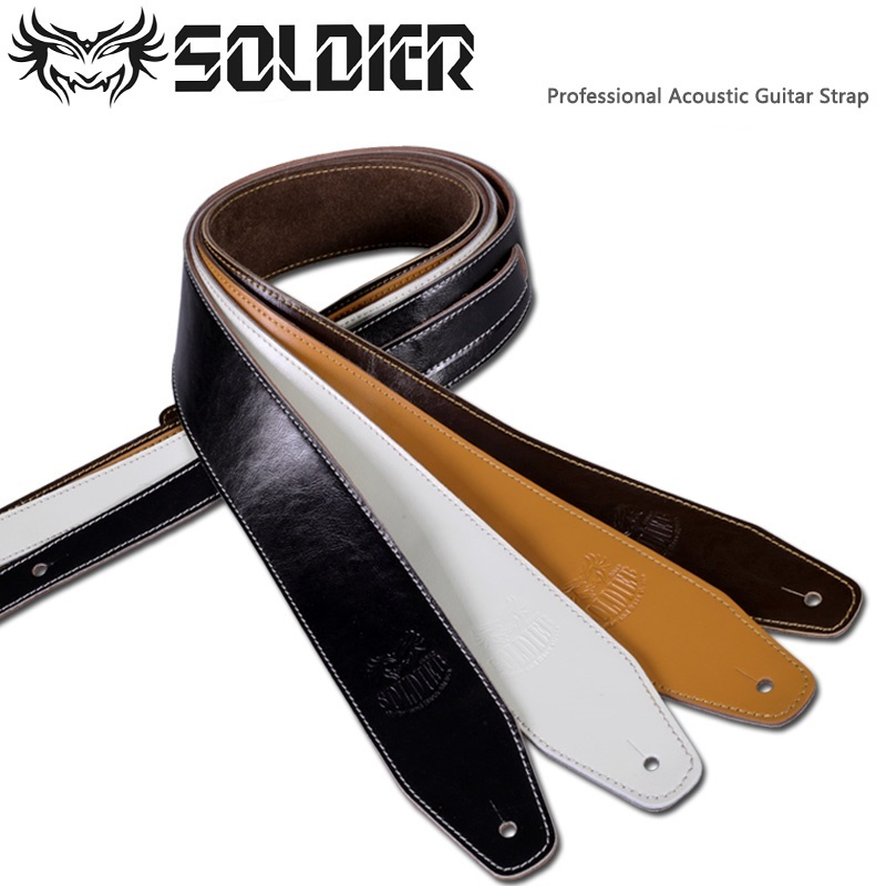 Soldier 014 Genuine Leather Guitar Strap (Thick, Good Quality) for Acoustic/Electric/Bass Guitar Strap Antislip warp knitting classical guitar strap acoustic electric guitar strap extreme well