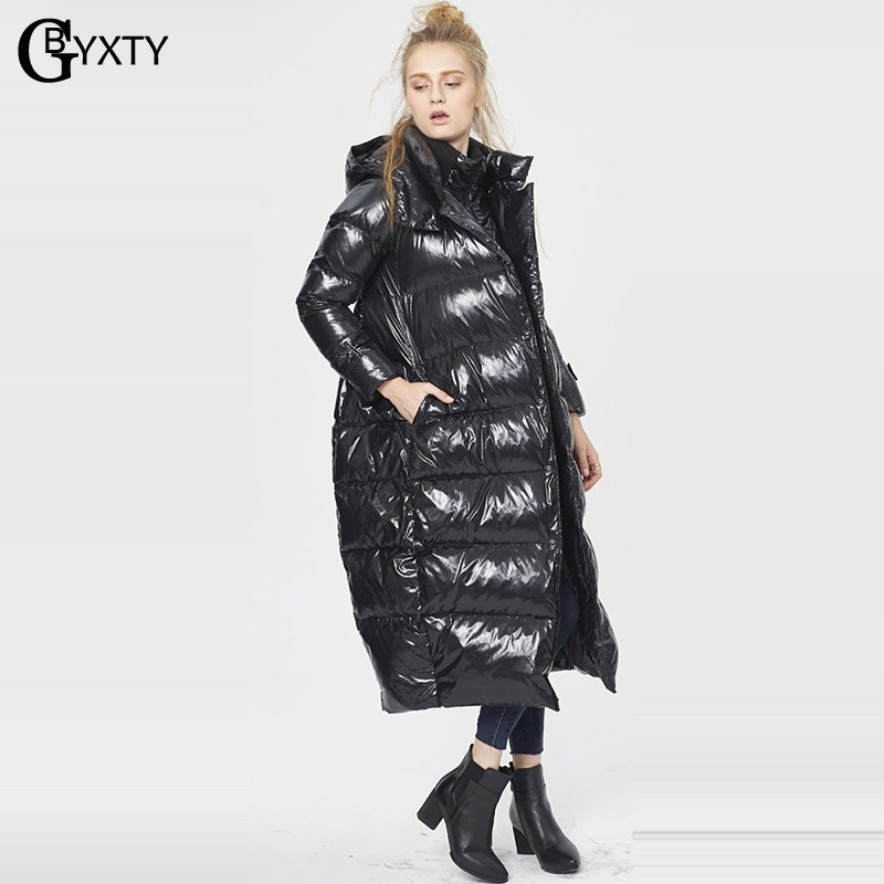 Gbyxty Plus Measurement 5Xl Unfastened Duck Raincoat 2018 Winter Womem Thick Lengthy Hooded Duckn Down Jacket Coat Feather Puffer Jacket Za909