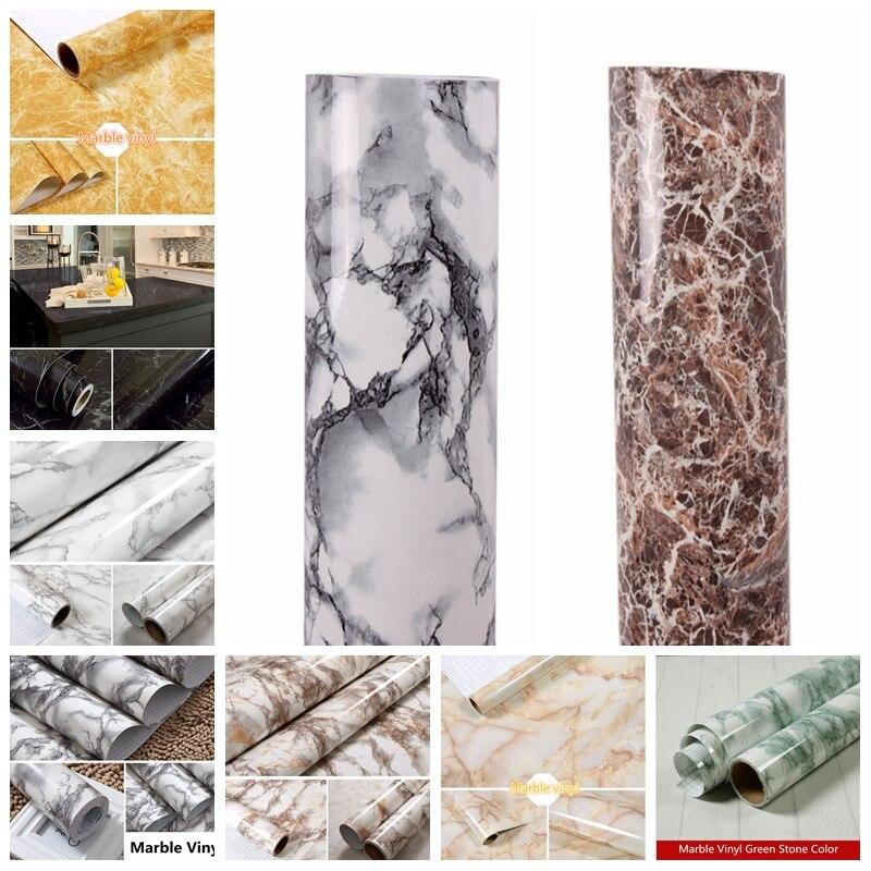 1.22x10 m marbre imperméable auto-adhésif papier peint moderne salon PVC cuisine étagère tiroir Liner Stickers muraux
