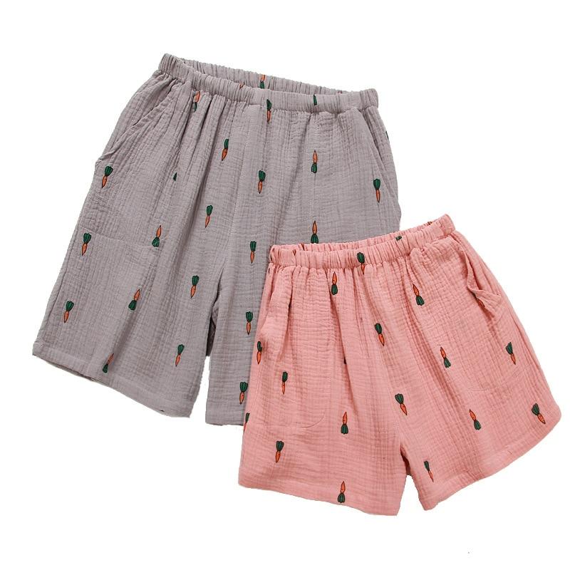 Summer Crepe Thin Pure Cotton Gauze Couple Pajamas Shorts Carrot Cartoon Sleep Bottoms Sleeping Shorts Women Pink Sleep Pants