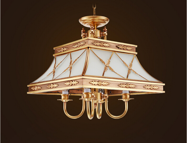 Free Shipping Nordic Brass Pendant Chandelier Lights Copper Lamp Light Luxury Antique