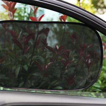 2 stks gloednieuwe auto zonneschermen gesoleerde auto gordijnen uv zonnescherm drape window shield statische film mesh side window