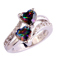 lingmei Free Shipping Heart Cut Rainbow & White Topaz  Silver Ring Size 6 7 8 9 10 11 12 New Jewelry Women Rings Wholesale