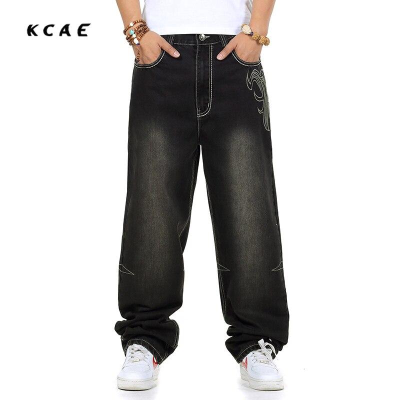 Plus Size 30-46 Men's Fashion Exquisite Embroidery Jean Pant, Hip Hop Casual Long Skateboard Pant Big Size 38 42