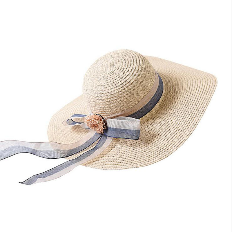 New Summer Women Floppy Straw Sun Hat With Lace Bow Wide Large Brim Foldable Caps Fashion Beach UV Protection Hats