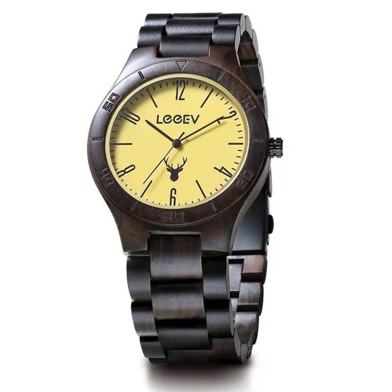 Montre en bois de luxe pour hommes montre en bois de santal wengé naturel montre à Quartz analogique légère montre-bracelet en bois Vintage livraison directe